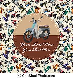 cartone animato, scheda, motocicletta