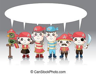cartone animato, scheda, pirata