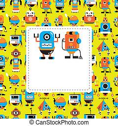 cartone animato, scheda, robot