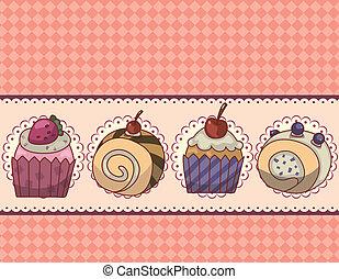 cartone animato, scheda, torta