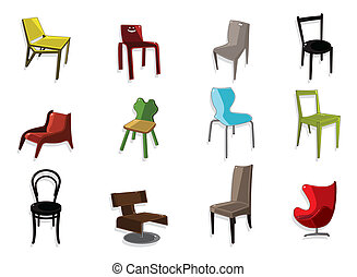 cartone animato, sedia, mobilia, icona, set