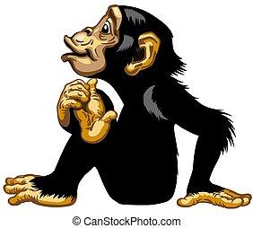 cartone animato, seduta, scimpanzé, vista laterale