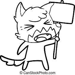 cartone animato, segno, arrabbiato, volpe