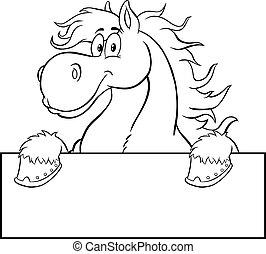 cartone animato, segno bianco, nero, cavallo bianco, carattere, sopra