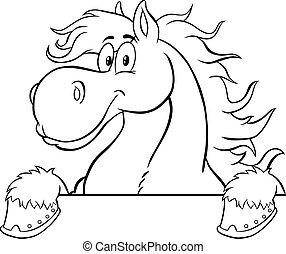 cartone animato, segno, nero, cavallo bianco, carattere, sopra