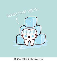 cartone animato, sensititive, dente