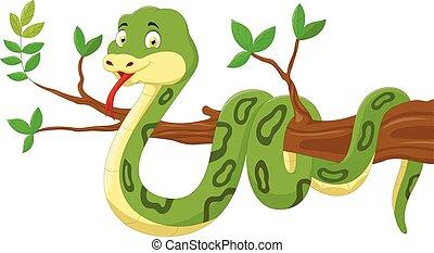 cartone animato, serpente, albero