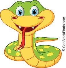 cartone animato, serpente, carino