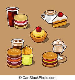 cartone animato, set, digiuno, colorito, cibo.