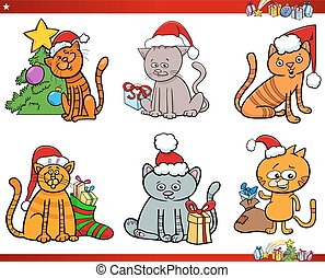 cartone animato, set, natale, caratteri, gatto