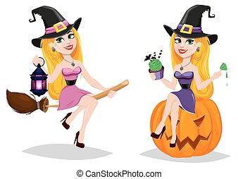 cartone animato, set, strega, holiday., scopa, halloween, volare, carino, signora, carattere, bello, seduta, pumpkin.