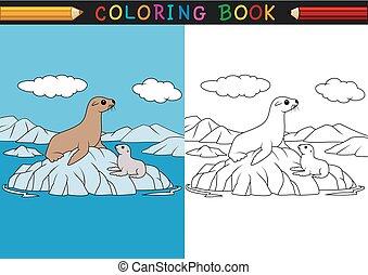 cartone animato, sigillo, libro colorante