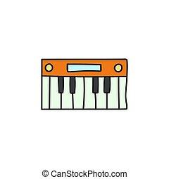cartone animato, sintetizzatore, elettronico, icon.