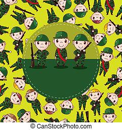 cartone animato, soldato, scheda