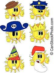 cartone animato, sole, esposizione, il, v, segno.