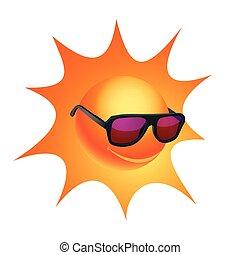 cartone animato, sole, in, occhiali da sole