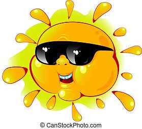 cartone animato, sole, in, uno, occhiali da sole