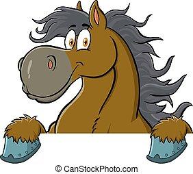cartone animato, sopra, cavallo, carattere, segno.