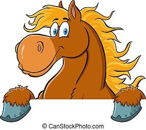 cartone animato, sopra, cavallo marrone, carattere, segno.