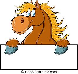 cartone animato, sopra, vuoto, cavallo marrone, carattere, segno.