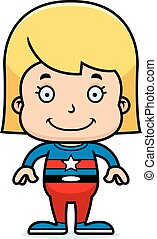 cartone animato, sorridente, superhero, ragazza