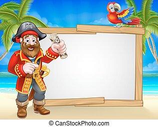 cartone animato, spiaggia, pirata, fondo, segno