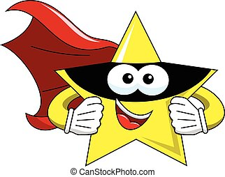 cartone animato, stella, superhero, isolato