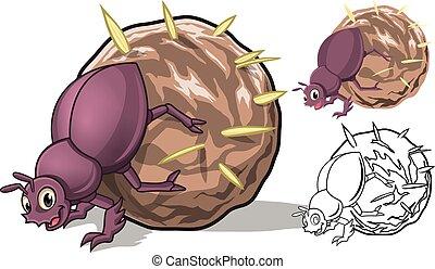 cartone animato, sterco, dettagliato, scarabeo