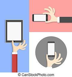 cartone animato, stile, -, mani, con, tavoletta, (pc), e, smartphone