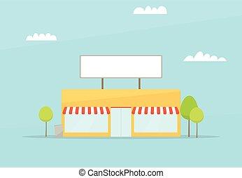 cartone animato, store., appartamento, semplice, disegno