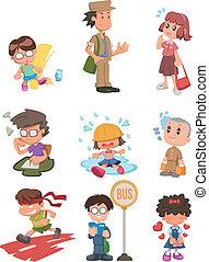 cartone animato, studente, icona