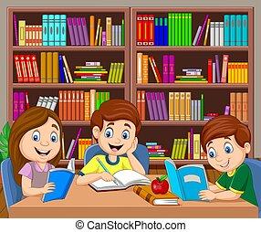 cartone animato, studiare, biblioteca, bambini