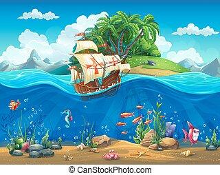 cartone animato, subacqueo, mondo, con, fish, piante, isola, e, caravel