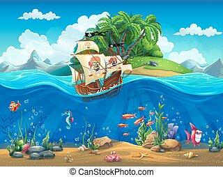cartone animato, subacqueo, mondo, con, fish, piante, isola, e, nave