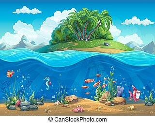 cartone animato, subacqueo, mondo, con, fish, piante, isola