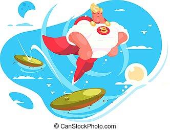 cartone animato, superhero, con, capo rosso