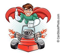 cartone animato, superhero, con, falciatrice