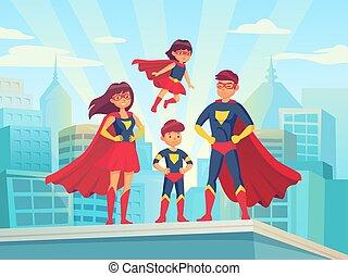 cartone animato, superhero, family., mamma, babbo, e, childrens, in, superheroes, costumes., super, genitori, e, bambini, eroi, su, cityscape, vettore, illustrazione