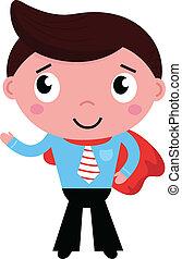 cartone animato, superhero, uomo affari, in, capo rosso, isolato, bianco