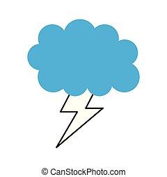cartone animato, tempo, bullone, nuvola, lampo