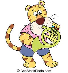 cartone animato, tiger, gioco, uno, corno francese