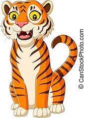 cartone animato, tiger, isolato, bianco, sorridente, fondo
