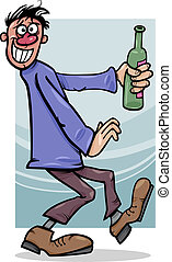 cartone animato, tipo, bottiglia, illustrazione, ubriaco