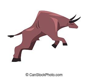 cartone animato, tradizionale, spagnolo, esecuzione, corrida, toro, stile, illustrazione, saltare, vettore