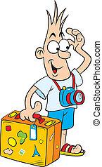 cartone animato, turista
