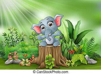 Elefante bambino gioco cartone animato. blu illustrazione