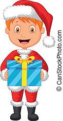 cartone animato, uno, ragazzo, in, vestiti rossi, holdin