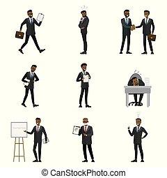 cartone animato, uomo affari, americano, africano, caratteri