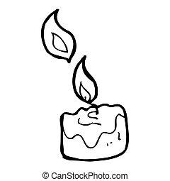 cartone animato, urente, candela