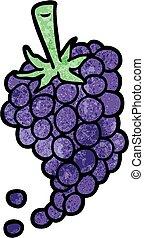 cartone animato, uva, mazzo